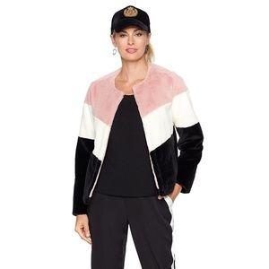 NWT Serena Williams Colorblock Faux Fur Jacket